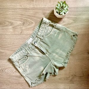 Free People Olive Cut Off Shorts